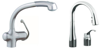 top kitchen faucets - Grohe Ladylux Plus faucet and Kohler Simplice faucet - Grohe via Atticmag
