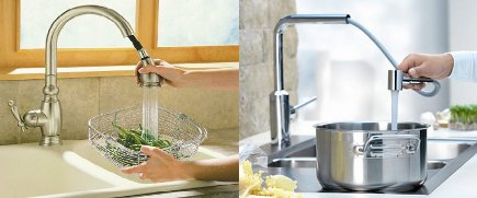top kitchen faucets - current trends have pull down faucets replacing pull outs - Kohler via Atticmag