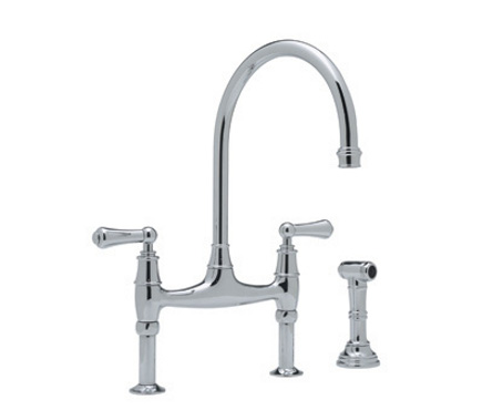 top kitchen faucets - Perrin and Rowe bridge faucet with gooseneck spout and side sprayer - Rohl via Atticmag