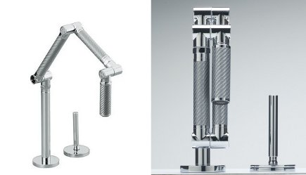 Kohler Karbon articulating faucet open and folded closed - Kohler via Atticmag