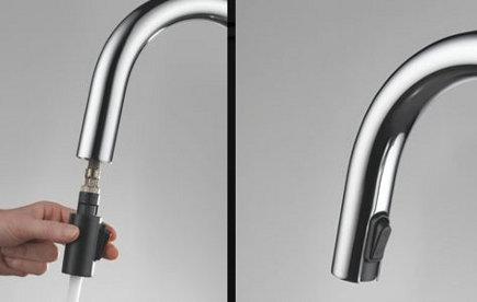 kitchen faucets - Brizo Solna pull down faucet tip - Brizo via Atticmag