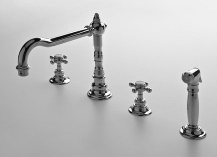 kitchen faucets - Waterworks Julia traditional faucet with sidespray - Waterworks via Atticmag