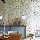 floral walls - framed panel of chinoiserie wallpaper by de Gournay via Atticmag