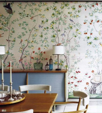 floral walls - framed panel of chinoiserie wallpaper by de Gournay - Domino via Atticmag