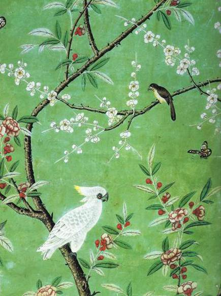 floral walls - antique chinoiserie wallpaper detail, ca 1753 - WOI via Atticmag
