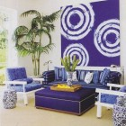 vibrant blue Palm Beach pool house room by Aman and Carson Interiors
