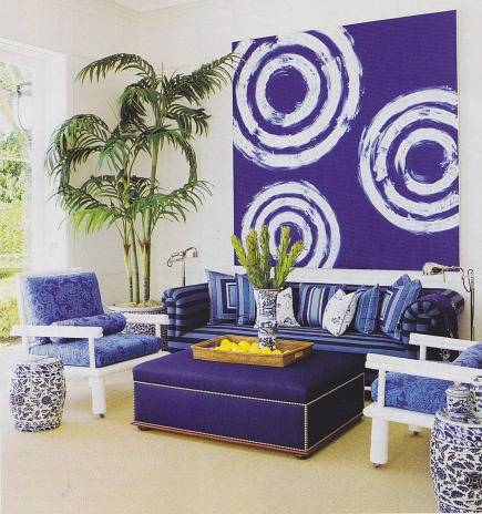 cool blue - vibrant blue Palm Beach pool house room by Aman and Carson Interiors - via Atticmag