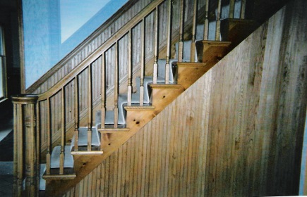 oak and beadboard staircase before repainting - Atticmag