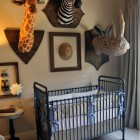safari theme nursery with paper mâché trophy animals - Atticmag