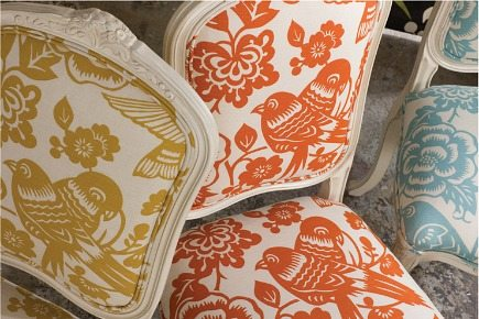 bird motif - French chairs covered in contemporary Aviary bird fabric by Thomas Paul via Atticmag