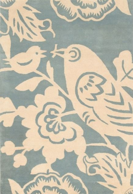 bird motif powder blue and cream Aviary rug by Thomas Paul from Velocity Art and Design via Atticmag