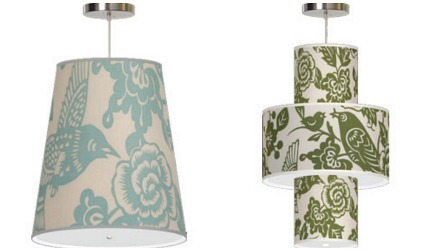 bird motif - Aviary fabric pendant lighting by Thomas Paul for Seascape Lamps via Atticmag