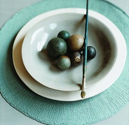 hand dyed cotton round place mats from Canvas Home Store via Atticmaghand dyed cotton round place mats from Canvas Home Store via Atticmag