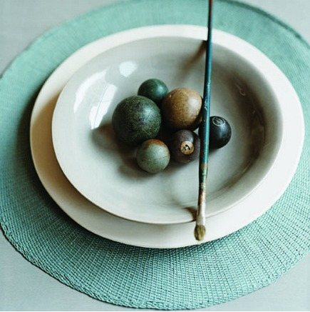hand dyed cotton round place mats from Canvas Home Store via Atticmaghand dyed cotton round place mat from Canvas Home Store