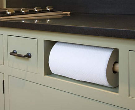 paper towel holders - built-in paper towel holder niche from Southern Living via Atticmag