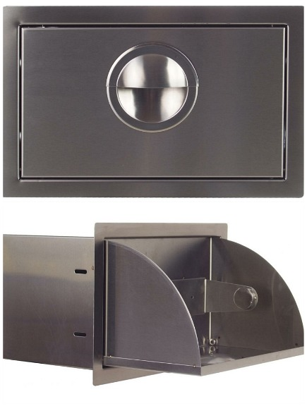 paper towel holder - stainless steel outdoor built in paper towel dispense from BBQ Guys via Atticmag