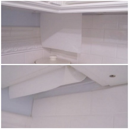 paper towel holders - built-in paper towel holder in corner cabinet from Gardenweb via Atticmag