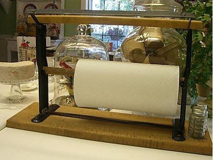 paper towel holders - creative repurposed paper towel holder from Cherry Hill Cottage blog via Atticmag