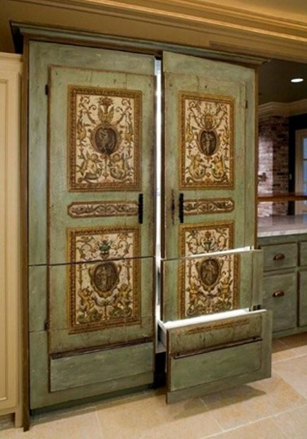 paneled refrigeration - SubZero paneled with elaborate grotesque decorative painting - via Atticmag