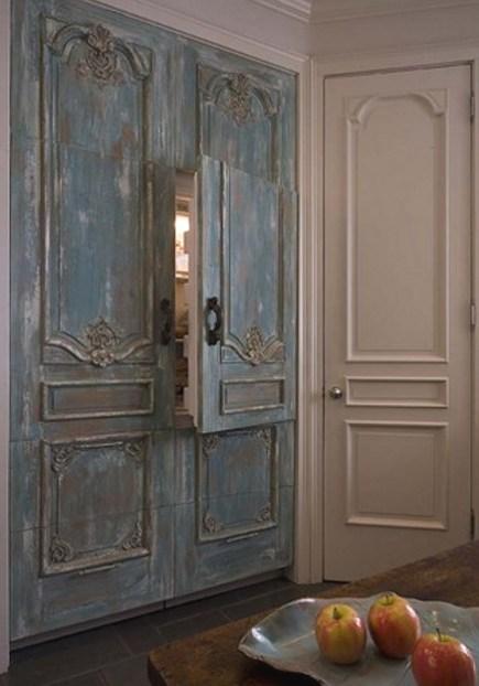 paneled refrigeration - antiqued blue provincial style Sub Zero paneled refrigerator freezer - via Atticmag