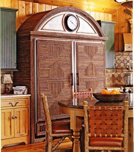 paneled refrigerator - integrated full size refrigerator and freezer built in a twig armoire look - Beautiful Kitchen via Atticmag