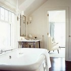 white master baths - contemporary all white bathroom with glass pebble floor Hutker Architects via Atticmag