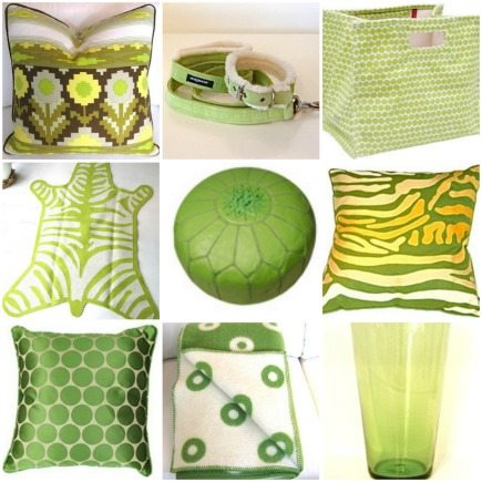 citrus color - lime green home decorating accessories pillows and rugs from piecesinc.com via Atticmag