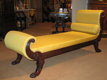 Directoire chaise longue with yellow upholstery from Pelham antiques via atticmag