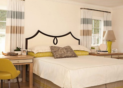 shaped headboards - black and white swag shape upholstered headboard with teardrop motif - via Atticmag