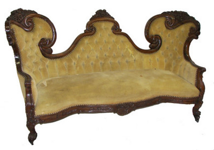 shaped headboards - Belter sofa with shield shape center back - Great American Auction via Atticmag