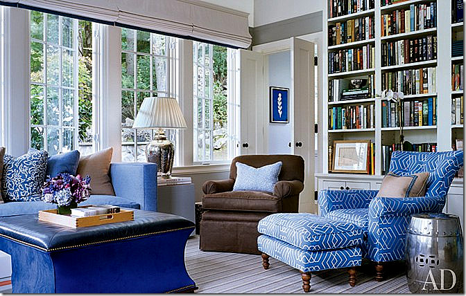 cool blue - alexa hampton room with Hickory Chair furniture and Lee Jofa Fabric - AD via Atticmag.com