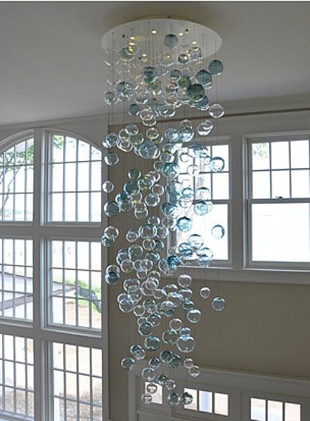 blown glass Bubble chandelier by Studio Bel Vetro via Atticmag