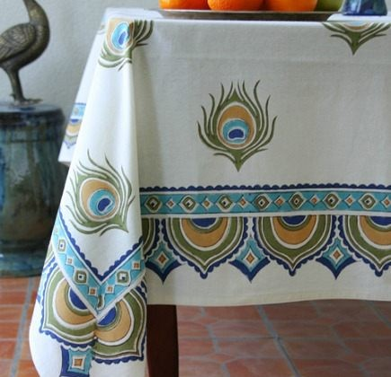 hand printed linens - block printed Dance O Peacock table cloth from Saffron Marigold via Atticmag