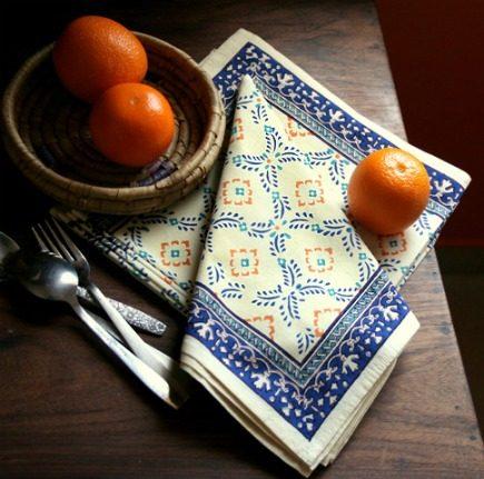 hand-printed linens - hand block printed Morning Dew table napkins from Saffron Marigold via Atticmag