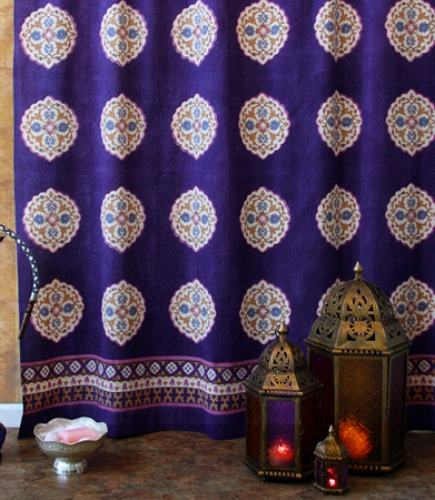 hand-printed linens - hand block printed Sultan's Palace shower curtain from Saffron Marigold via Atticmag