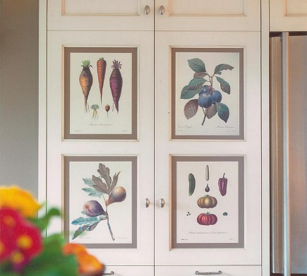 hidden kitchen baking center cabinet inset with fruit and vegetable prints by The Sky Is The Limit Design via Atticmag
