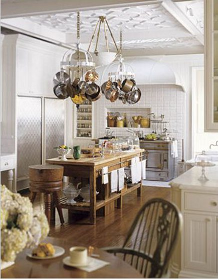 range wall of white and wood kitchen in an Edwardian townhouse kitchen addition - House Beautiful via Atticmag