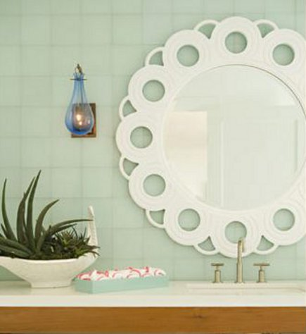 green bathroom by Bonesteel, Trout and Hall with whimsical white mirrror