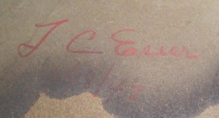 signature on back of my art deco mirror, dated 1947