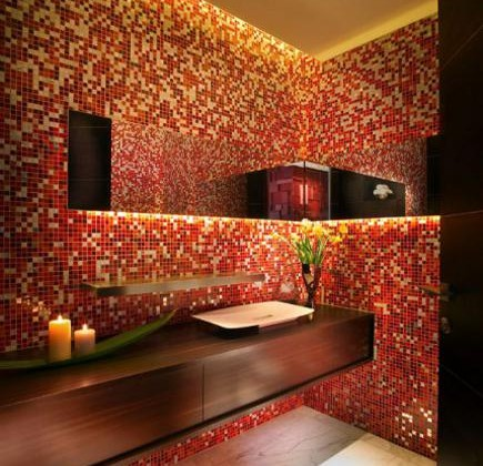 red glass mosaic tile powder room by Pepe Calderin via Atticmag