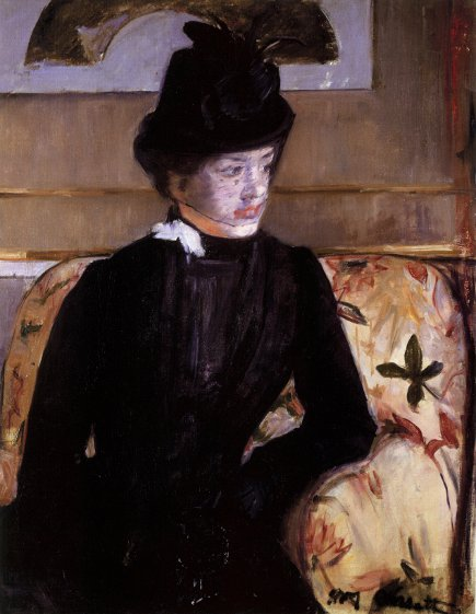 picture wall - magazine page photo of Mary Cassatt portrait of a woman in black with aesthetic period sofa fabric - WOI via Atticmag