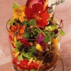 picture wall - salad with edible flowers from Spain's Gourmetour magazine via Atticmag
