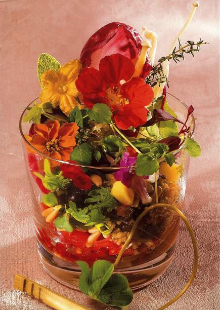 picture wall - magazine page photo of salad with edible flowers from Spain's Gourmetour magazine via Atticmag