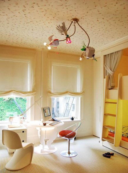 kid's room with fanciful ceiling and light fixture - BNO design via Atticmag