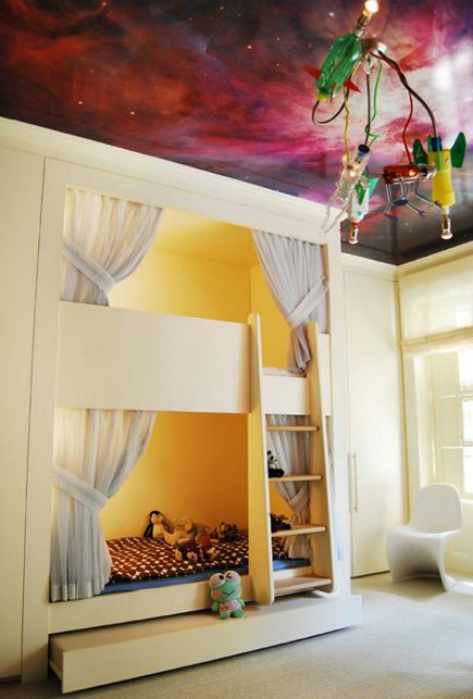 kid's room with marbleized ceiling, bunk bed alcover with ladder in child's room by BNO design via Atticmag