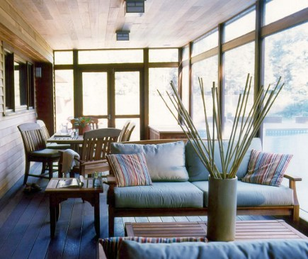 screen porch - Long Island screen porch with wood ceiling - smith river kitchens via atticmag