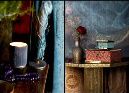 Fortuny decor - luxury candle and decorative box covered in Fortuny fabric from L'Objet by Elad Yifrach - AD via Atticmag