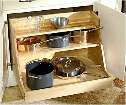 kitchen cabinet ideas - pull-out kitchen base cabinet drawer for pot storage - Everything LEB via Atticmag