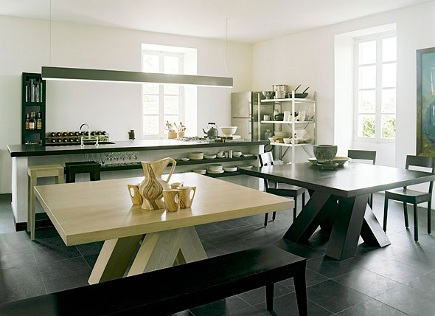 two tables - black and white modern kitchen with Heijden Hume Metro dining tables- Heijden Hume via Atticmag