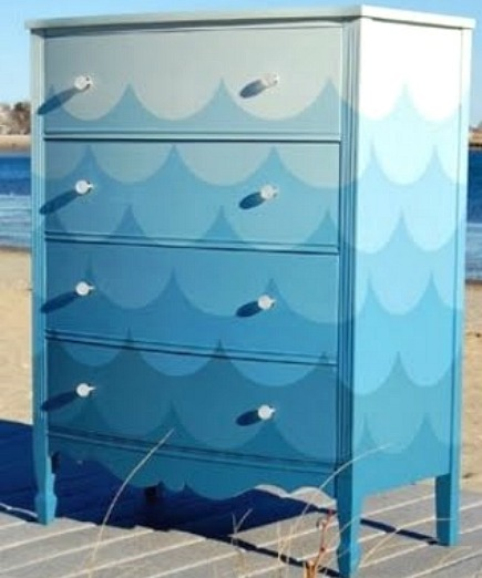 painted dressers - gradient color wave pattern painted dresser from Completely Coastal via Atticmag